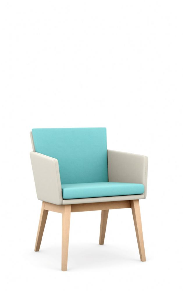 Pledge Lark Upholstered Chair With Four Leg Wooden Frame With Soft Seating